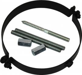 Kachelpijp muurbeugel Ø120mm gelast 2mm Kleur: zwart #TER12-520