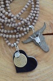 Ketting houten kraal 'camel/grijs' -LAATSTE-