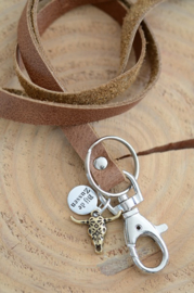 Keycord met bronskleurige bedel bull