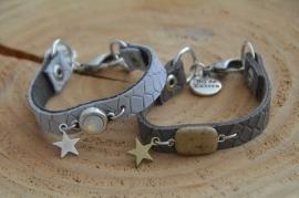 Armband plat leer met half-edelsteen of swarovski