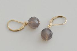 Oorbellen 14K Gold Filled met gemstone 'grijs'