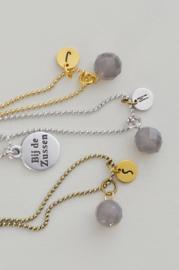 Ketting ballchain met gemstone 'grijs' en CUSTOMIZE je eigen initiaal