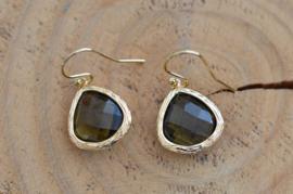 Oorbellen 14K Gold Filled met hanger glas 'bruin'