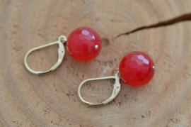 Oorbellen 14K Gold Filled met gemstone 'rood'