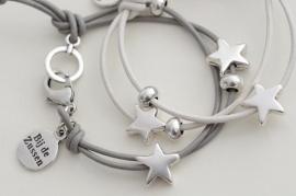 Armband lerenkoord met sterren