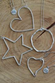 Ketting ballchain zilverkleurig met ster, hart of cirkel