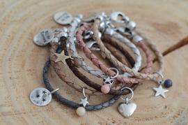 Armband braided leer