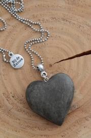 Ketting ballchain zilverkleurig met houten hart