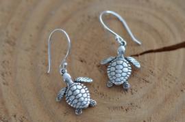 Oorbellen Zilver 925 met hanger schildpad