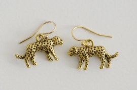 Oorbellen 14K Gold Filled met hanger luipaard