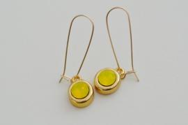 Oorbellen 14K Gold Filled met hanger swarovski 'geel'