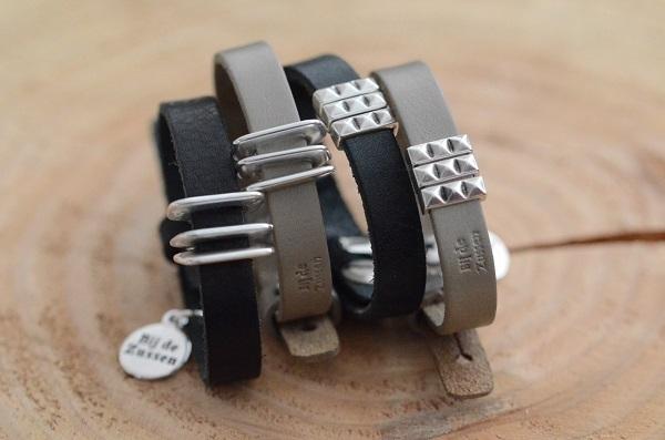 Armband plat leer