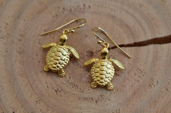 Oorbellen 14K Gold Filled met hanger schildpad