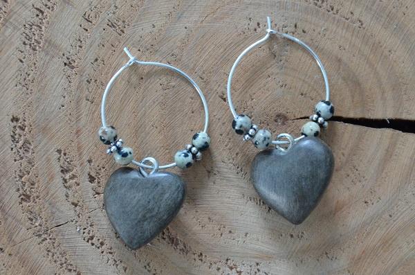 Oorbellen Zilver 925 met hanger hart