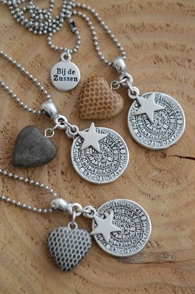 Ketting ballchain met munt, ster en houten hart