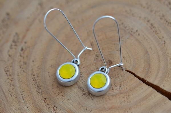 Oorbellen Zilver 925 met hanger swarovski 'geel'