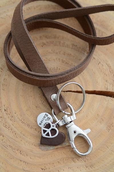 Keycord met hanger leren hart