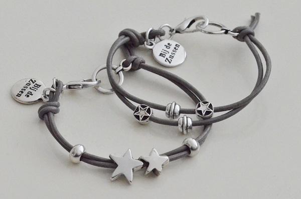 Armband lerenkoord grijs