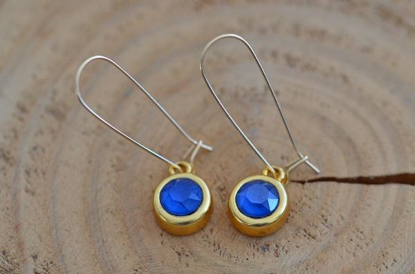 Oorbellen 14K Gold Filled met hanger swarovski 'blauw'