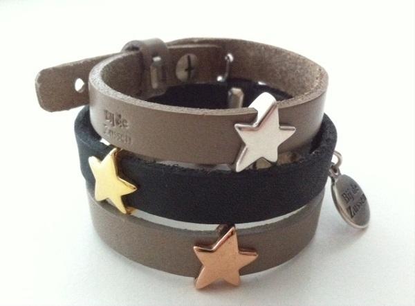 Armband plat leer met schuiver ster