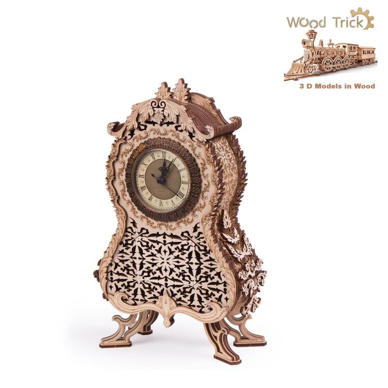 vintage clock bouwpakket Wood Trick