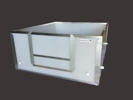 Werpkist 90 x 105 x 45 met 4 antidoodligstangen en alu afwerking op deurtjes