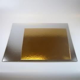 Taartkartons zilver/goud VIERKANT 25cm, 3 st.