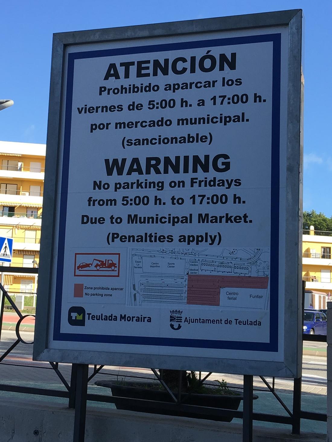 parkeren in Moraira