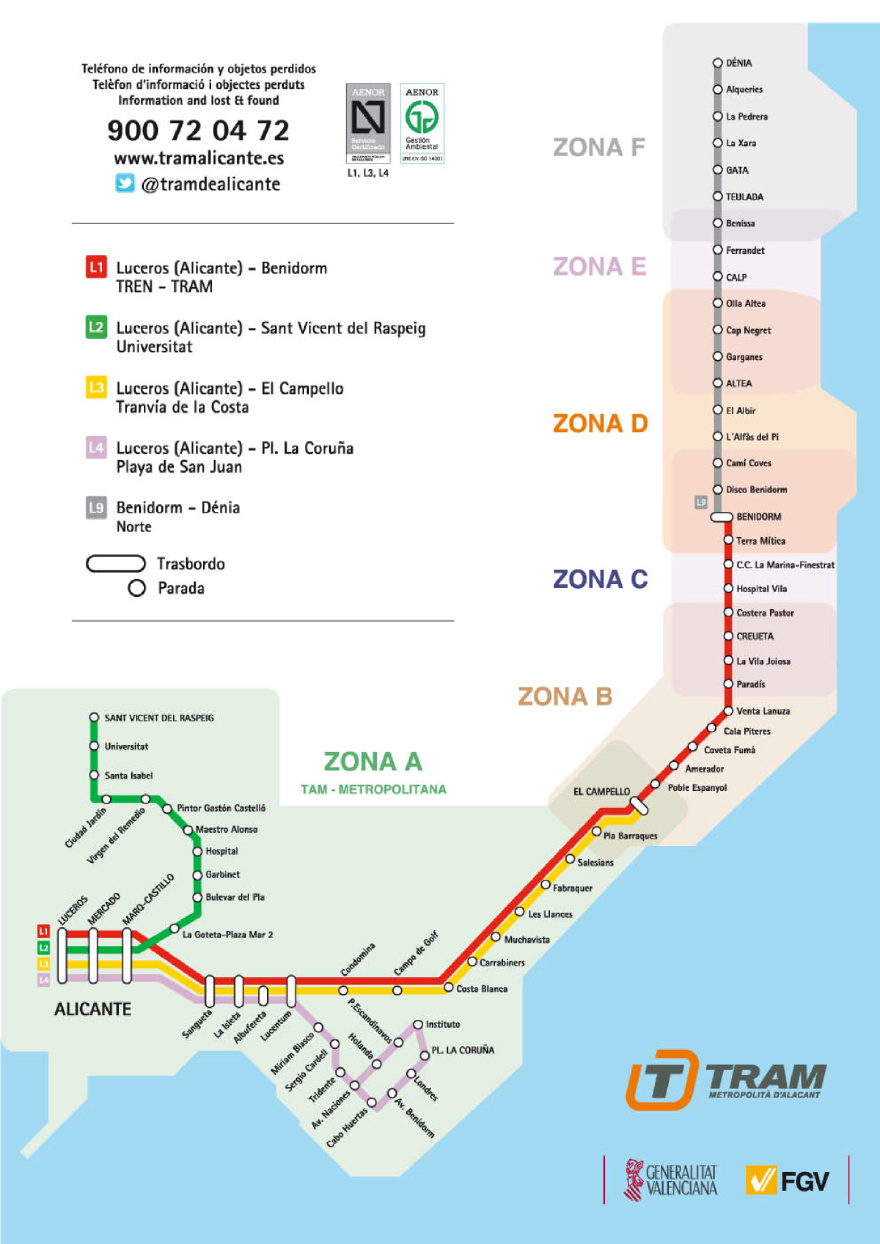 tramlijn Alicante naar Teulada