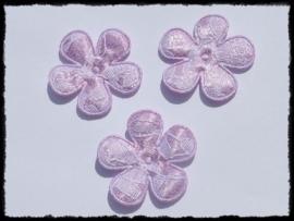 Satijnen bloemetjes, lila met kant- 4 stuks - 35mm