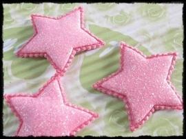 Sterren, roze glitter - 4 stuks - 35mm.
