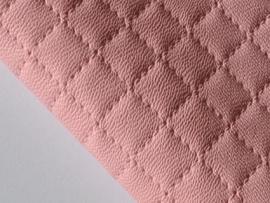 Lapje leer doorgestikt, roze - 20 x 22 cm.
