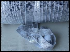 Elastisch band zebra, wit / zilver - 16mm.