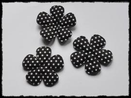 Katoenen polkadot bloemen, zwart - 4 stuks - 47mm.