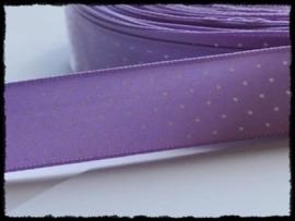 Satijn lint, lila met witte stipjes - 17mm
