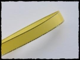 Satijnlint met zilver randje, geel - 9mm.