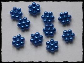 Parelbloemetjes blauw - 10 stuks - 1 cm.
