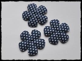 Katoenen polkadot bloem, donkerblauw - 4 stuks - 47mm.