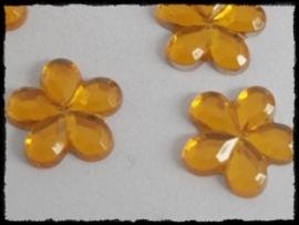 Flatback bloemetjes, geel - 10mm - 10 stuks