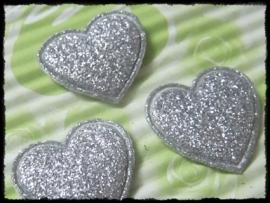 Hartjes, zilver glitter - 4 stuks - 20mm.
