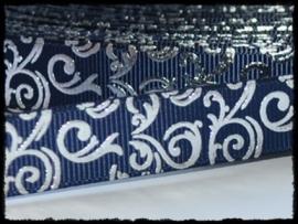 Grosgrain d.blauw / zilver barok, 5m.
