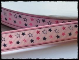 Grosgrain met sterren, roze - 5 meter - 16mm.