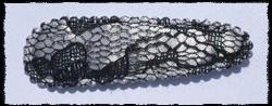 (gr) Haarkniphoesjes incl knipjes - zilvergrijs met zwart kant - 55mm