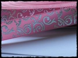Grosgrain roze / zilver barok, 5m.