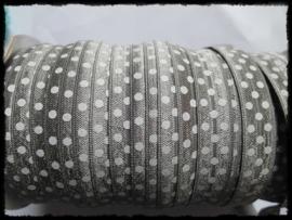 Elastisch band, grijs polkadot - 16mm