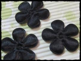 Satijnen bloemetjes, zwart satijn - 35mm