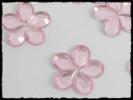 Flatback bloemetjes, roze - 10mm - 10 stuks