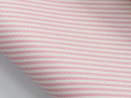Lapje leer roze / wit streep - 20 x 22 cm.