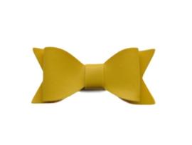 Leren strik, geel - 7 cm.