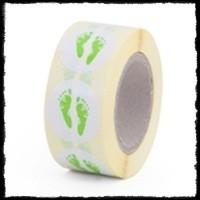 Etiketten babyvoetjes, groen - 10 stuks